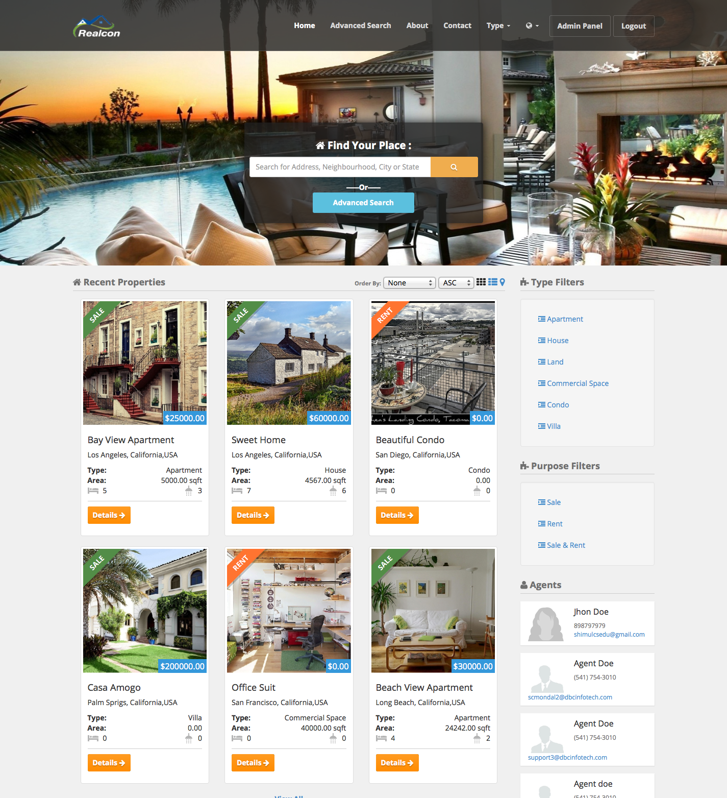 Realcon Real Estate Property Listing by dbcinfotech | CodeCanyon