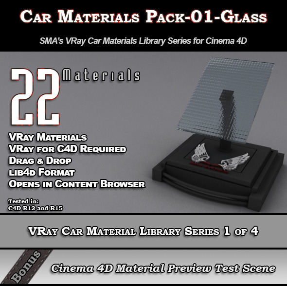 22 VRay Car Materials Pack-01-Glass for Cinema 4D - 3DOcean Item for Sale