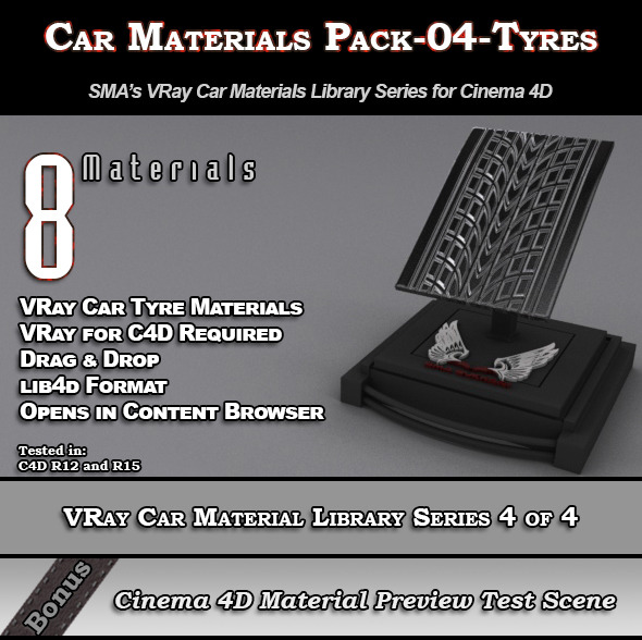 8 VRay Car Materials Pack-04-Tyres for Cinema 4D - 3DOcean Item for Sale