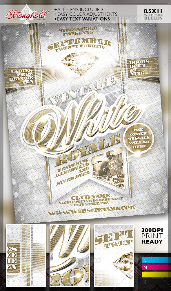 Vintage White Royale Party Flyer Template By Getstronghold
