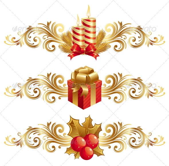 Christmas Symbols With Ornamental Decor By Sergo Graphicriver