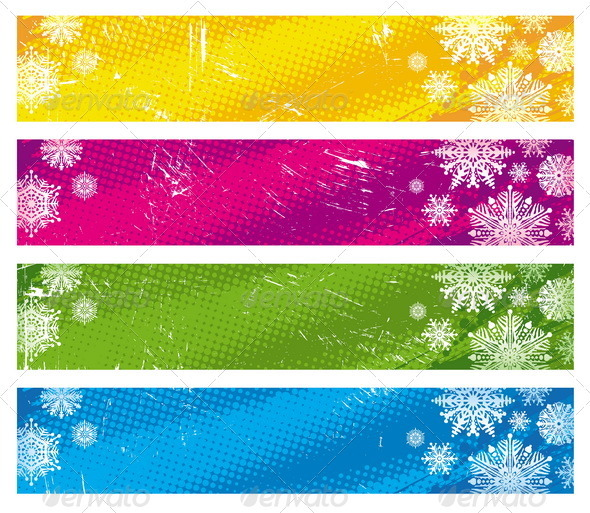 Vector Grunge Banners With Snowflakes - Seasons/Holidays Conceptual