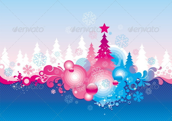 Abstract Christmas Vector Background - Seasons/Holidays Conceptual