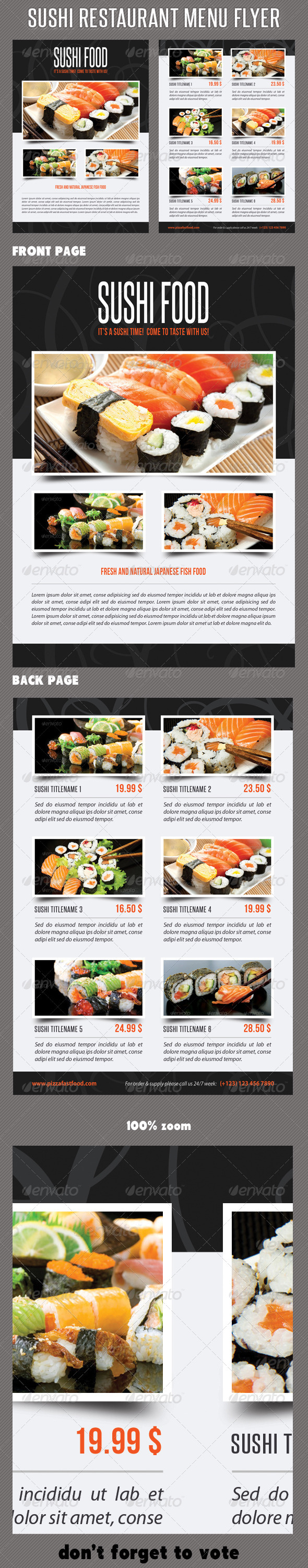 Sushi Restaurant Menu Flyer V01