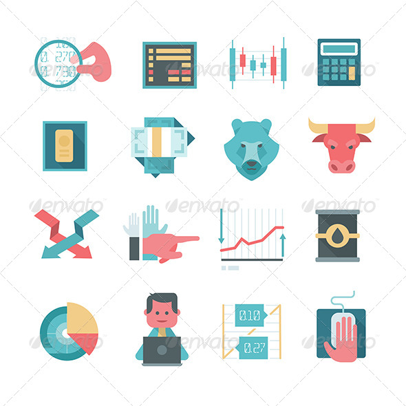 Icons of Online Stocks Trading - Business Icons