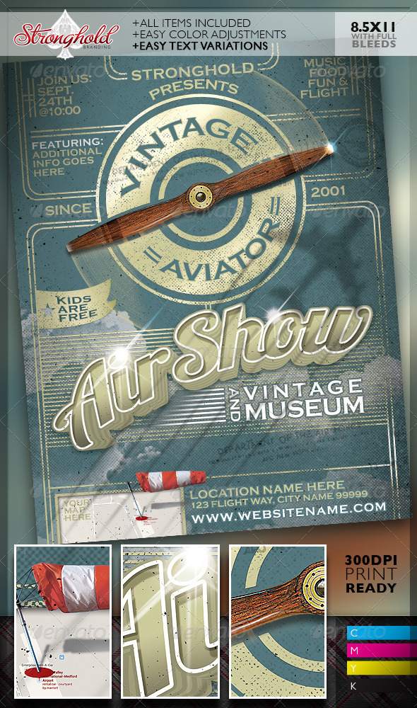 Vintage Air Show Event Flyer Template By Getstronghold | Graphicriver