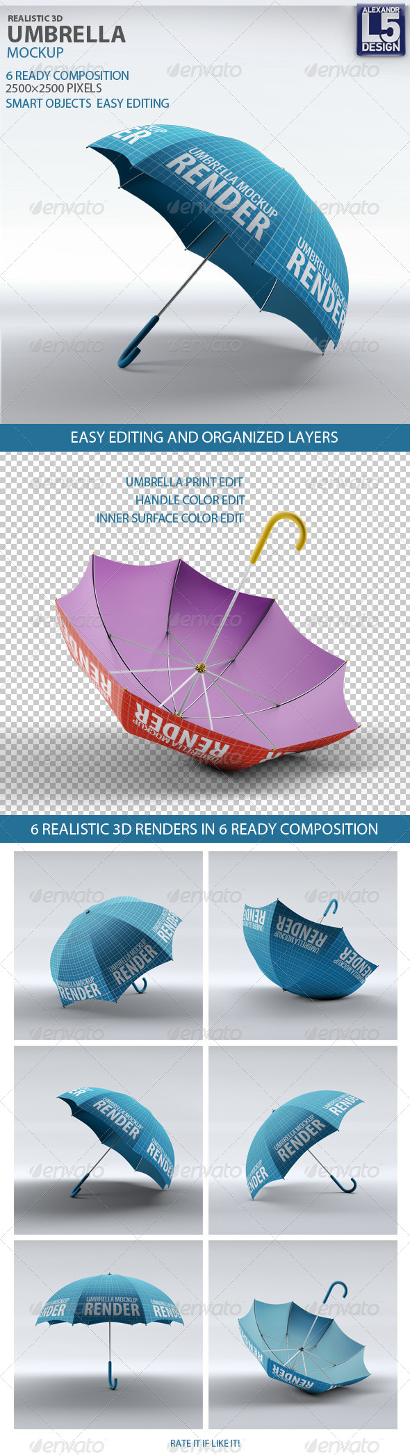 Umbrella Mock-Up - Miscellaneous Product Mock-Ups