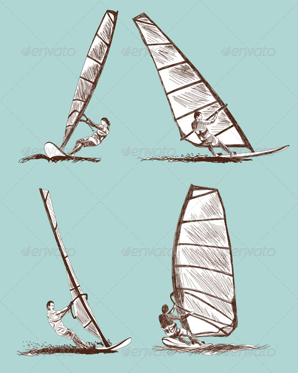 Windsurfing Sketch Set - Sports/Activity Conceptual