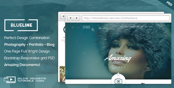 BlueLine - Onepage Photography Portfolio Theme - Photography Creative