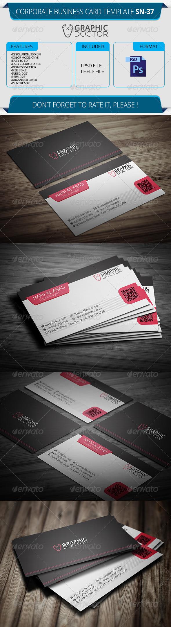 Corporate Business Card Template SN-37 - Corporate Business Cards