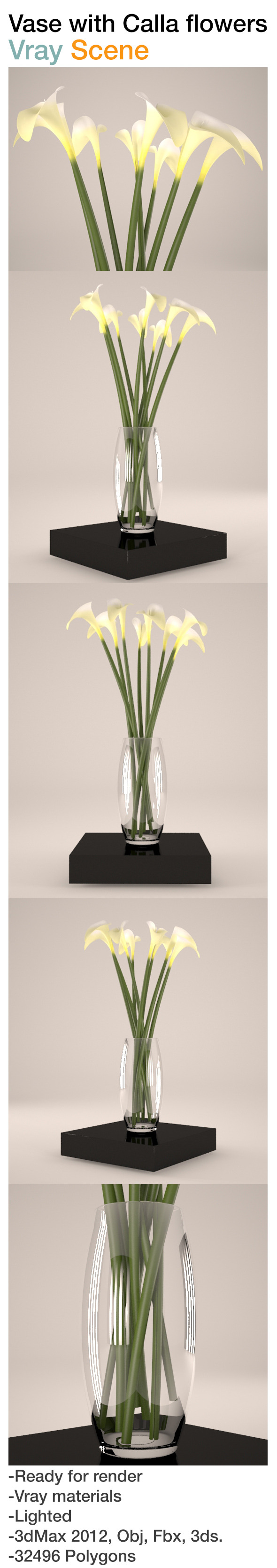 Vase with calla flowers - 3DOcean Item for Sale