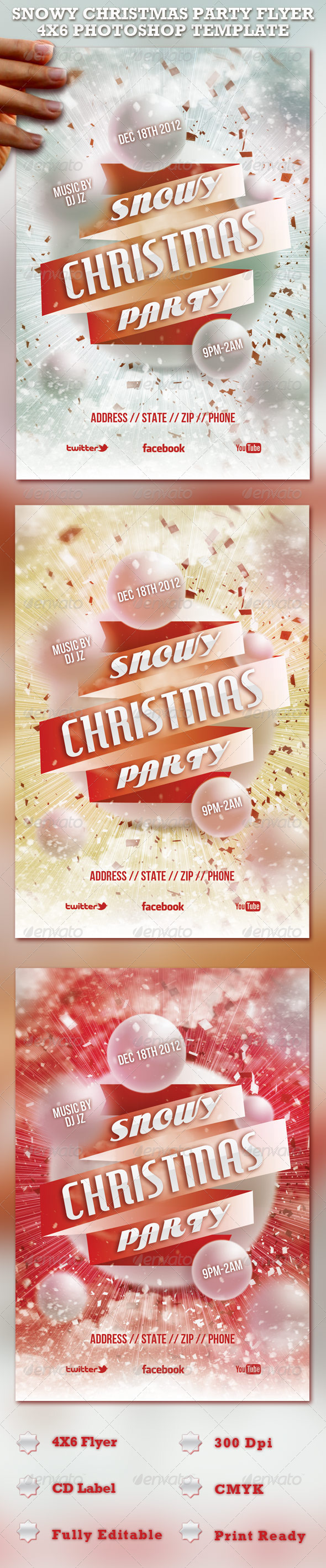 Snowy Christmas Party Flyer Template - Clubs & Parties Events