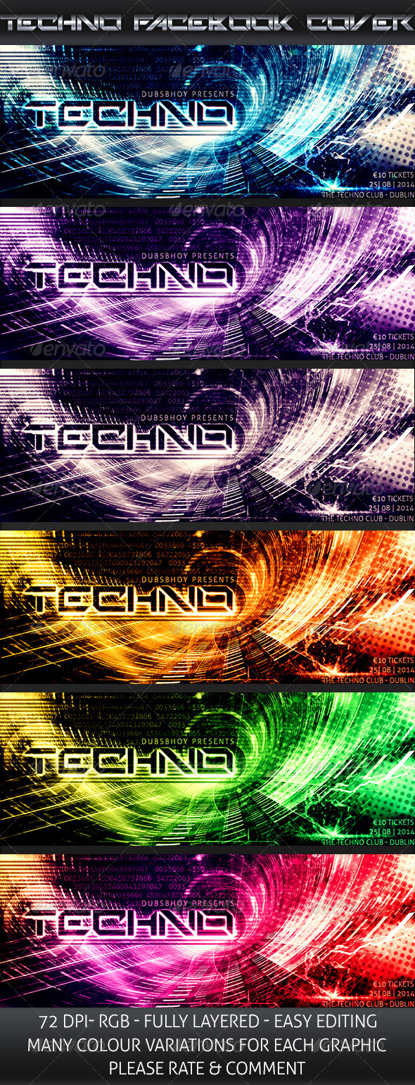 Techno Event Cover - Facebook Timeline Covers Social Media