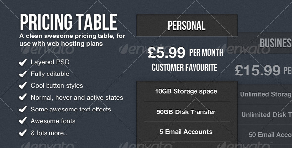 Clean Pricing Table - Tables Web Elements