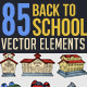 85 Hand Drawn School Elements - GraphicRiver Item for Sale