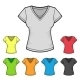 Women's V-Neck T-shirt Design Template Color Set