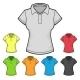 Women's Polo T-shirt Design Template Color Set