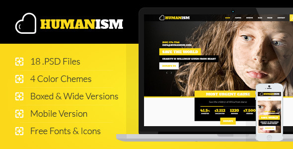 Humanism - Charity, Nonprofit PSD Theme - Charity Nonprofit