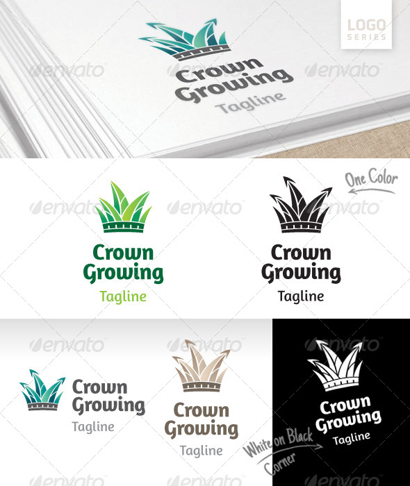 Crown Growing Logo - Nature Logo Templates
