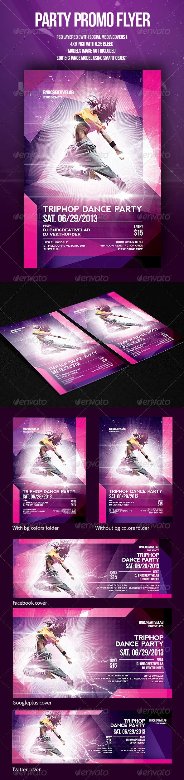 Triphop Dance Party Promo Flyer - Clubs & Parties Events