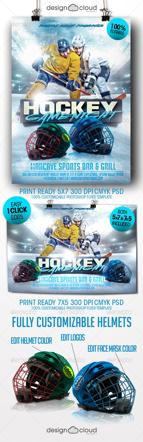 Hockey Game Night Flyer Template - Sports Events
