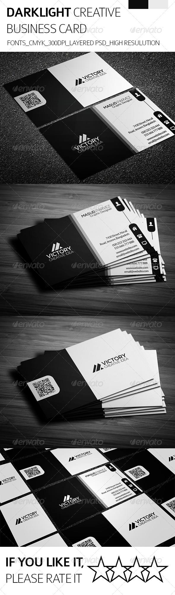 Dark Light & Creative Business Card - Creative Business Cards