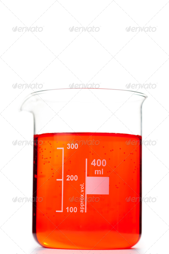 Beaker against a white background - Stock Photo - Images