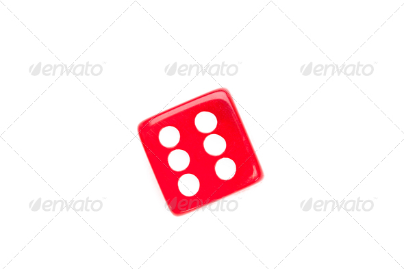 Dice designating a number six against a white background - Stock Photo - Images