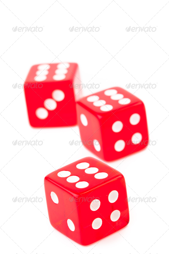 Three dices against a white background - Stock Photo - Images