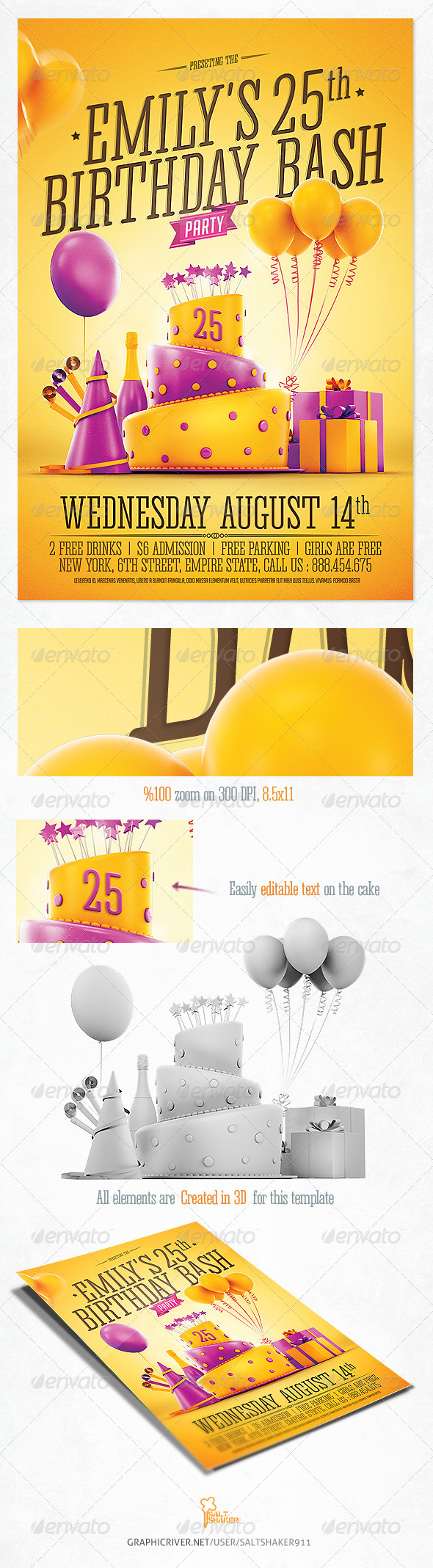 Birthday Party Invitation Flyer By Saltshaker GraphicRiver - Birthday party invitation flyer template
