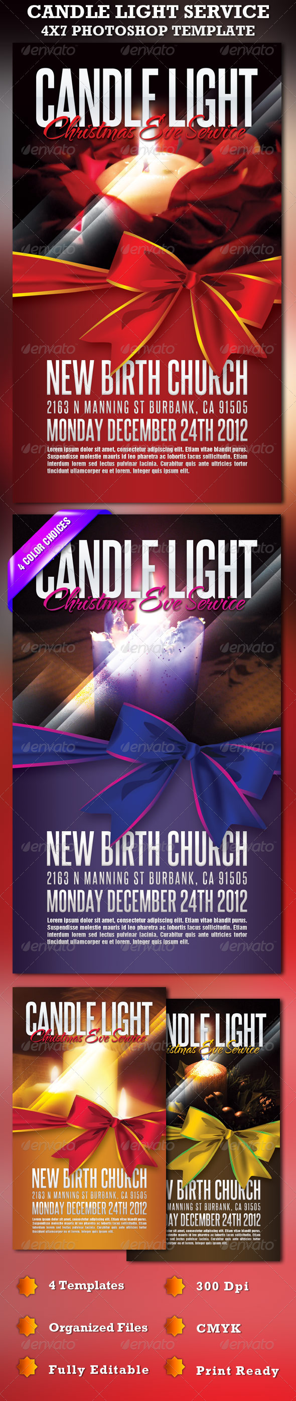 Candle Light Service Church Flyer Template - Church Flyers