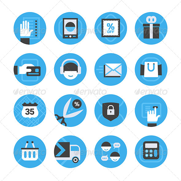 E-commerce and Online Shopping Icons Set - Business Icons