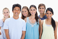 Close-up of people smiling together against white background - PhotoDune Item for Sale