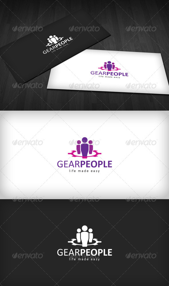Gear People Logo - Vector Abstract