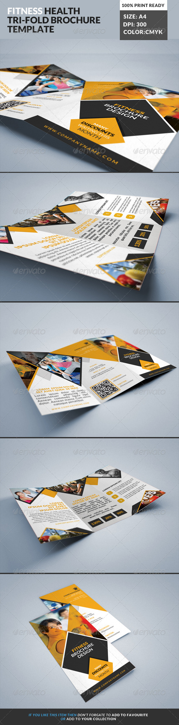 Fitness Gym Tri-Fold Brochures Template 2 - Corporate Brochures