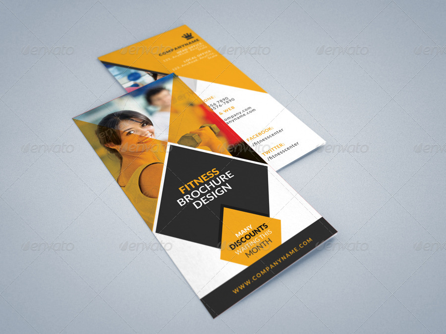 Fitness Gym Tri-Fold Brochures Template 2 By Creativesource_Online