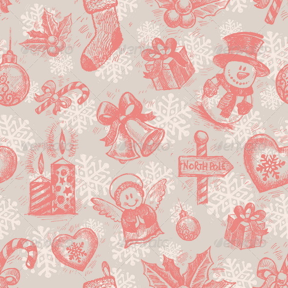 Seamless Hand Drawn Christmas Background - Christmas Seasons/Holidays