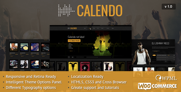 Calendo Responsive WordPress Theme - Music and Bands Entertainment