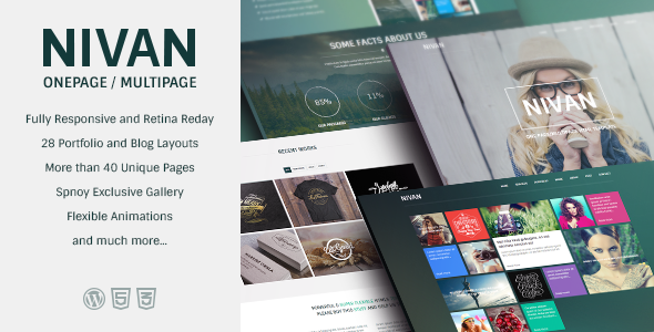 Nivan – One Page / Multi Page WordPress Theme