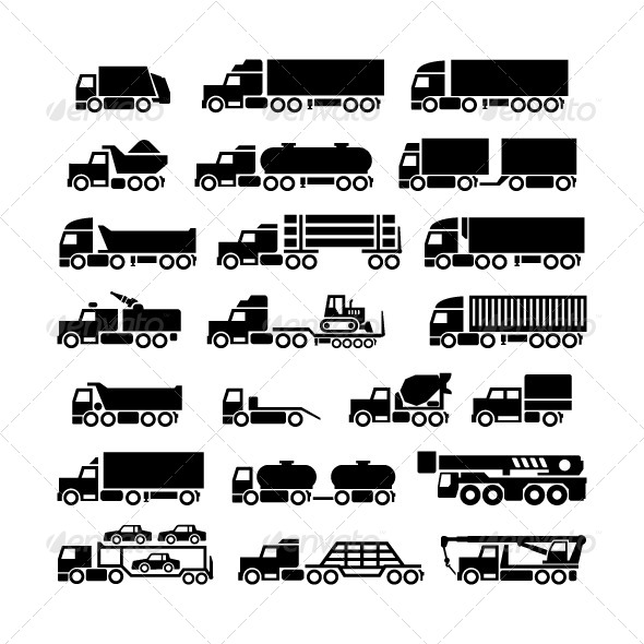Set Icons of Trucks, Trailers and Vehicles - Business Icons