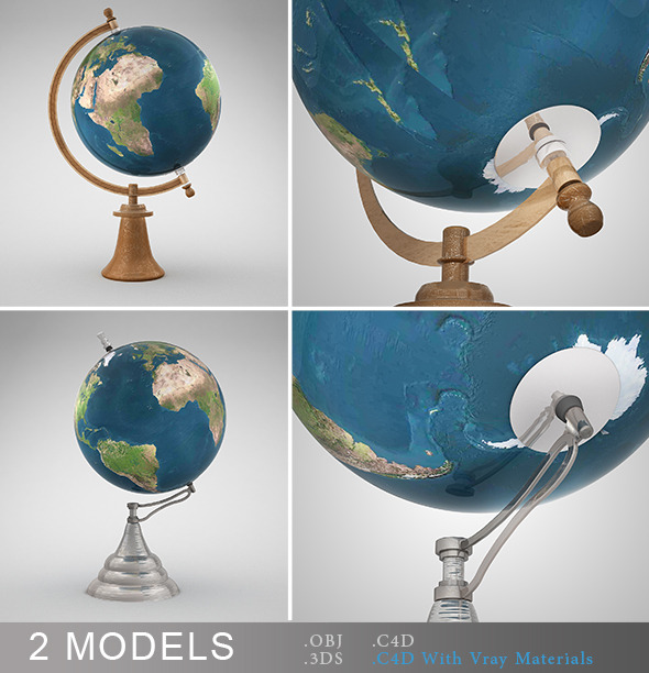 Desk Globes Vray - 3DOcean Item for Sale