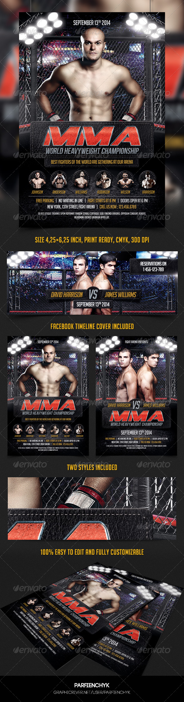 MMA Flyer Template - Sports Events