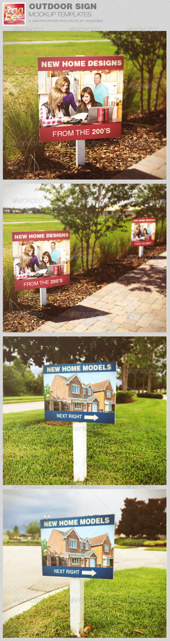 outdoor sign mockup templates by rockibee graphicriver