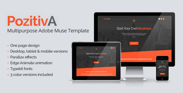 PozitivA – Multipurpose One Page Muse Template