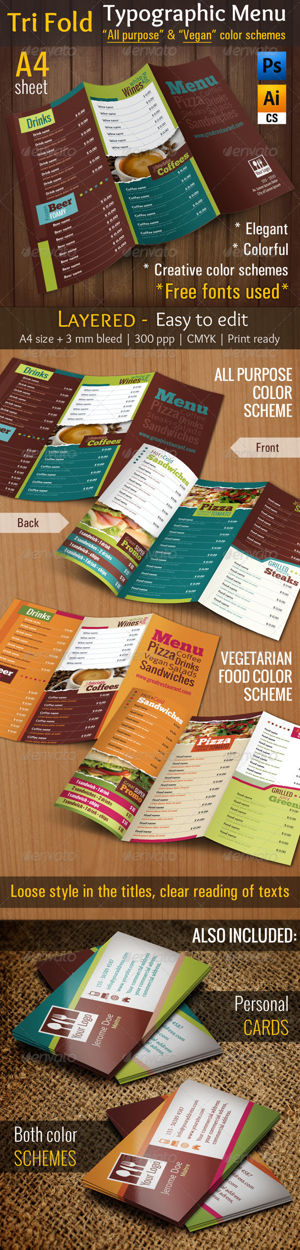 3 Fold Typographic Menu | All Purpose & Vegan Food - Food Menus Print Templates