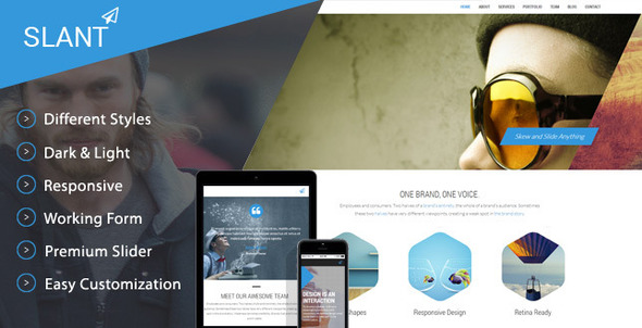 Slant - One Page Responsive Template - Creative Site Templates