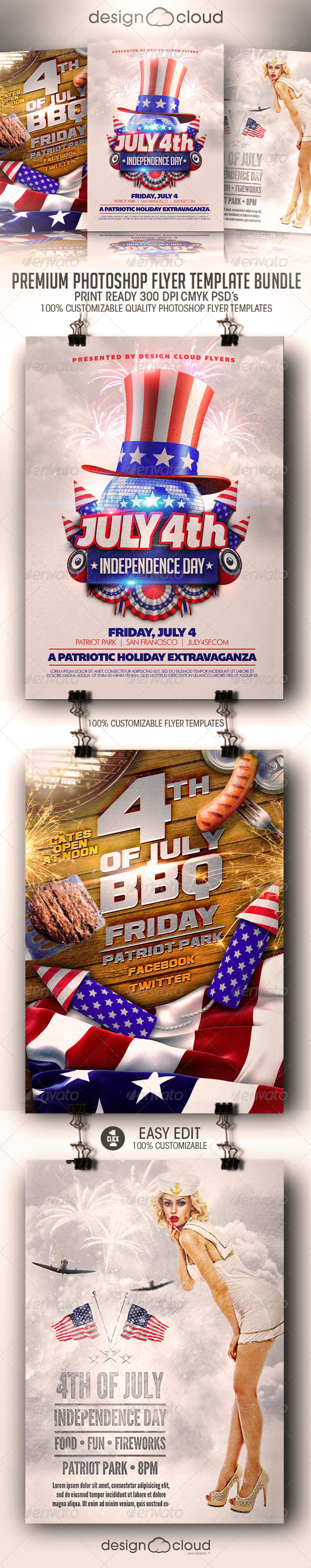 July 4th Independence Day Flyer Template Bundle - Events Flyers