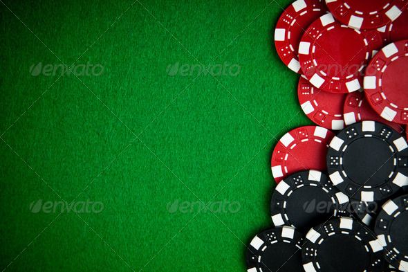 Casino gambling chips with copy space - Stock Photo - Images