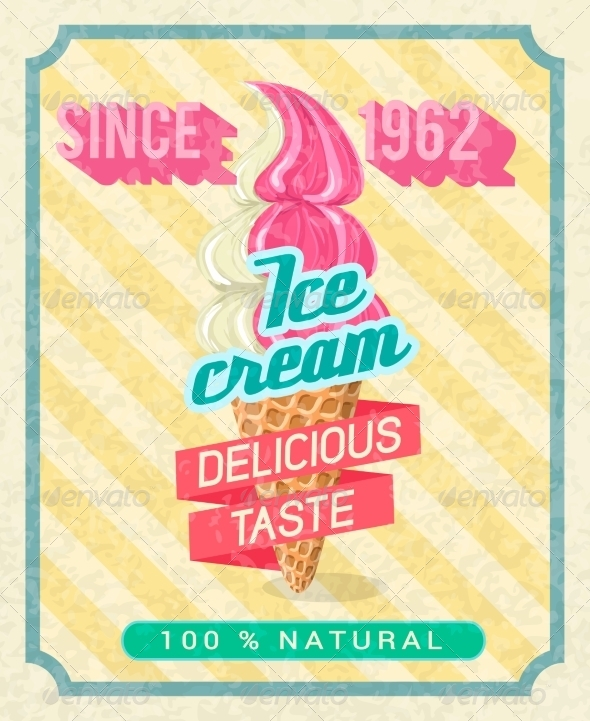 Poster with Strawberry Ice-Cream