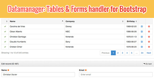 DataManager: Tables & Forms handler for Bootstrap by andufo ...